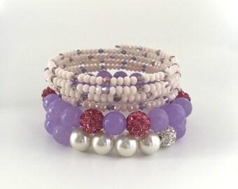 Swarovski Crystal Bead Bracelet, Memory Wire Crystal Bracelets, Light Purple Bead Bracelets, Women's Bead Bracelets,  Stack Bead Bracelets,