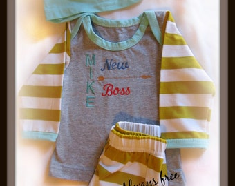 Baby boy 3 pc outfit take me home outfit  free monogramming 0/3--3/6