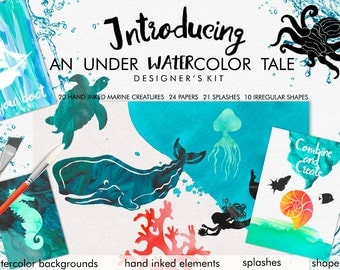 An Under Watercolor Tale - Watercolor Clip Art - Marine Clip Art - Mermaid - Nautical Clip Art - Nautical Scenes - Watercolor Backgrounds