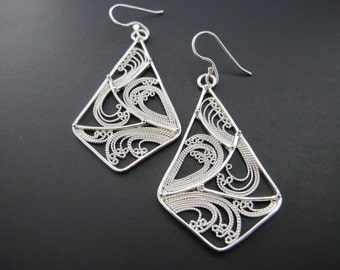 Classic Argentium Sterling Silver Filigree Earrings