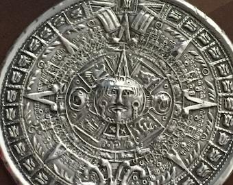Sterling Mayan Calendar Large Round Pendant