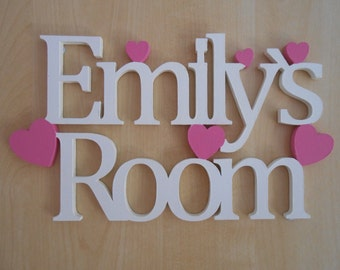 High Quality Personalised Heart Door Sign, Childrens MDF Sign, Girls Heart Bedroom Door  Sign, Hand