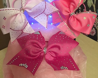"""Hand made 8"""" pink hair bows with rhinestones"""