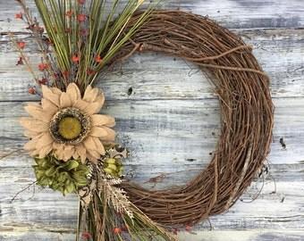 Farmhouse Wreath, Farmhouse Decor, Cottage Chic, Rustic Wreath, Front Door Wreath, Fall Wreath, Farmhouse Style, Rustic Decor, Home Decor,