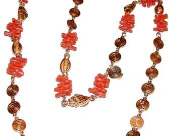 Vintage Shells Corals Gold Tone Chain Necklace