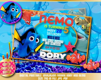 Finding dory  Digital  Printable invitation, Custom Party ,Finding dory ,Birthday,Party, Supply, Kit, Pack, Custom