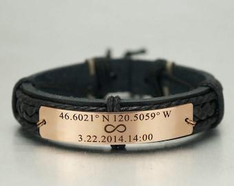 Custom Coordinates Bracelet, Infinity Bracelet, Latitude Longitude Bracelet, Memorial Date, Engraved Bracelet, Leather Braided Bracelet