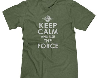 Keep Calm And Use The Force Yoda Star Wars Jedi Master Funny Parody T-shirt Tee