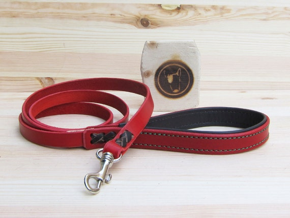 Red Leather Dog Leash - Classic 4 Foot Dog Leash - Comfort Grip Leash - Colorful Handcrafted Strong Dog Lead - Dog Gift - YupCollars