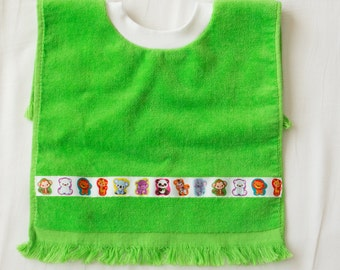 Personalized, Zoo Animals Baby or Toddler Towel Bib, Handmade Gender Neutral Baby Shower Gift, Pullover Full Coverage Bib, Toddler Art Smock