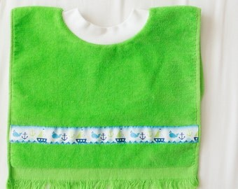 Personalized, Whales and Sailboats Baby or Toddler Towel Bib, Handmade Boy Baby Shower Gift, Pullover Full Coverage Bib, Toddler Art Smock