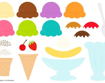 Sundea Clipart, Ice Cream Clip Art,  Ice Cream Bar Graphics - Commercial Use, Instant Download