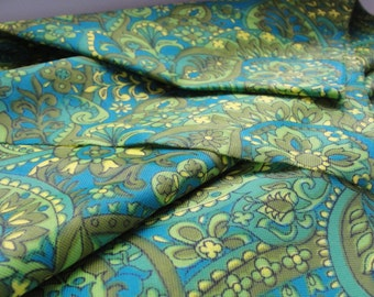 Vintage Nylon Fabric. Made in Germany, 1960s. Green, Blue and Yellow colors, with patterns. 2.96 yards.