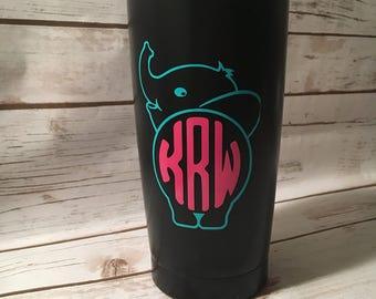 Elephant Monogram Mug, Custom Elephant Mug, Elephant Monogram Tavel Mug
