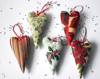 Decorative fabric long heart Christmas tree decorations