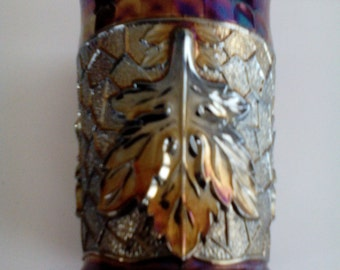 Carnival Glass Tumbler - Maple Leaf