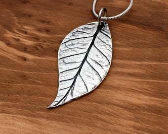 Pure Silver leaf necklace, leaf pendant, Silver Leaf, Handmade to order, gift for gardener, gift for mum, one of a kind, handmade