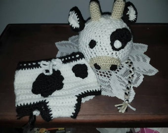Crochet Cow diaper cover and hat