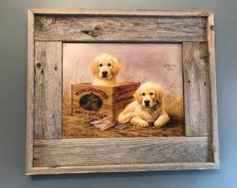 Labrador Retriever Puppies Tin Sign Rustic Frame