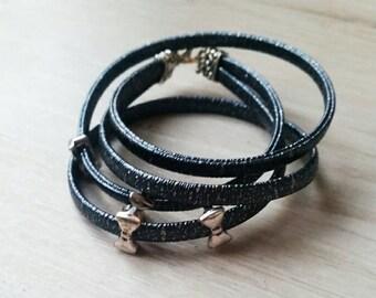 Glittery blue leather bracelet