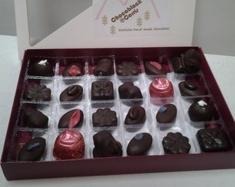Box of 24 delicious hand made dairy free Belgian chocolates. Suitable for vegans