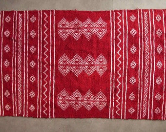 Carpet red Berber kilim ethnic patterned wool handwoven 1mx60cm