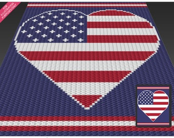 USA Heart crochet blanket pattern; c2c, cross stitch; knitting; graph; pdf download; no written counts or row-by-row instructions