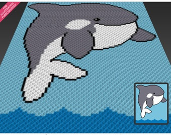 Playful Orca crochet blanket pattern; c2c, cross stitch; graph; pdf download; no written counts or row-by-row instructions