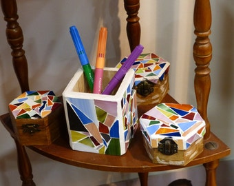 Boxes jewelry box decorative trencadís / pencil holder wood and glass separately