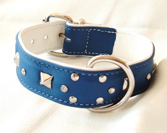 Royal Blue on White leather studded dog collar with diamantes and White Stitching