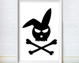 Rabbit Print, Bunny Art, Nursery Wall Decor, Skull, Crossbones, Large Poster, Digital Download, Black and White Illustration