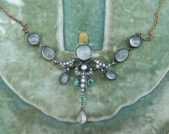 Victorian 18ct gold silver moonstone seed pearl emerald and diamond 18k vintage antique pendant necklace