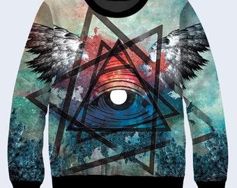 Mystic Eye Sweatshirt, Triangle Womens Sweater, Esoterics Crew Neck Sweatshirt, Multicolor Sweat Shirt, Pullover