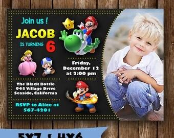 Super Mario invitation super mario birthday invitation super mario party invitation super mario invite card printable tickets supplies birth