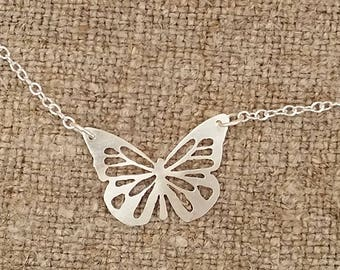 Sterling silver butterfly necklet