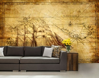 self adhesive peel and stick wall mural, pirate map wallpaper, wall sticker, vinly wallpaper, pirate ship wallpaper, pirate ship wall mural