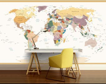 education world map, vinly wall mural, kids world map, self-adhesive vinly, world map wall mural, world map wall decal, education kids map
