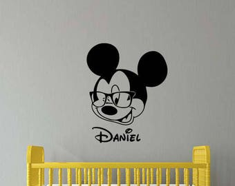 Personalized Name Mickey Mouse Wall Decal Disney Baby Vinyl Sticker Home Room Kids Bedroom Decor Nursery Poster Art Mural Custom Print 138