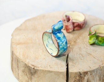 Aquamarine Blue Enamel Ring