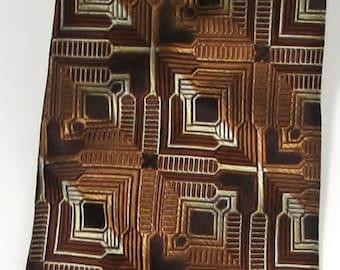New STACY ADAMS 100% Silk Bronze and Browns 3D Geometric Pattern Vintage  Necktie Tie
