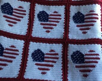 Heart Flag Crochet Throw (approximately 3' X 4')