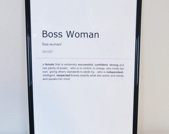 Boss Woman Definition Print. Inspirational Quote Print. Wall Art. Gift Idea. Bedroom Typography Art.Monochrome Print. Home Décor. Wall Décor