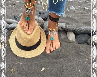 "Barefoot-sandals ""ELENA"", sandalias-tobilleras, boho chic, hippie, bohem, crochet, yoga, barefoot, waxed thread"