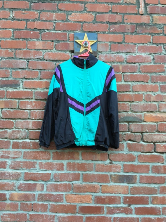 Radness Here Jacket / 80s 90s Colorblock Arrow Windbreaker Jacket Teal Purple Black Medium Large XL