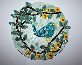 """Lovely hand made ceramic wall plaque with """"bird on a branch"""""""