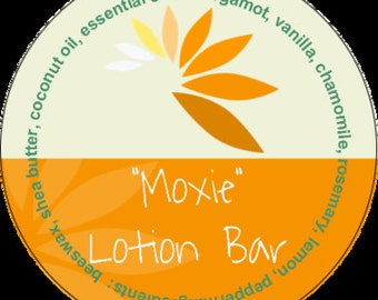 Moxie Lotion Bar #aromatherapy #tin #bergamot #rosemary #chamomile #vanilla #lemon #peppermint