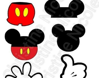 Mickey Mouse body parts SVG file