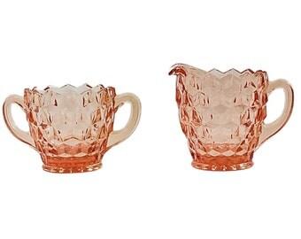 Vintage Sugar Bowl and Creamer Set, Pink Depression Glass Creamer and Sugar Bowl, Cubed Sugar and Creamer Set, Vintage Tea Set, Shabby Chic