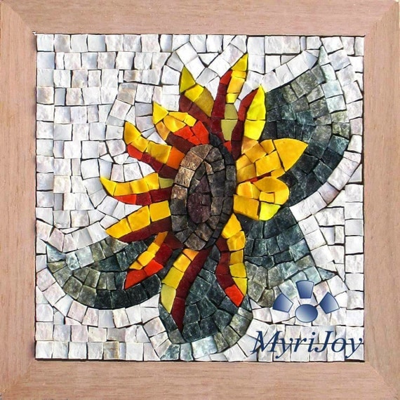 mosaic kit craft diy wall glass kits adults italian tiles sunflower mosaics etsy crafts project unusual projects marble murano pebble