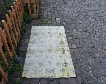 Handwoven Rug Floor Rug Antique Rug  2.9x5.1 Ft  Decorative Rug Anatolian Turkish Carpet Home Decor Ethnic Rug